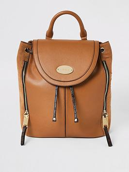 river-island-foldover-backpack-tan