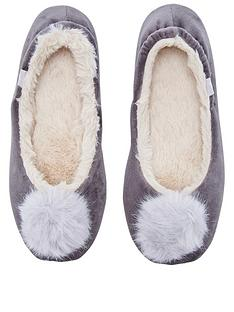 joules-pombury-velvet-ballet-slipper-with-pom-pom-light-grey