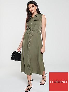 warehouse-textured-midi-shirt-dress-khaki