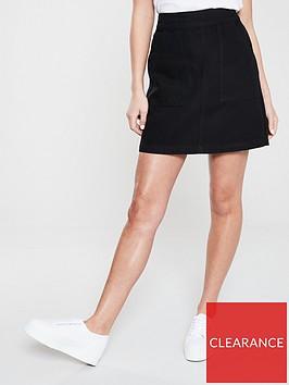 warehouse-pocket-detail-denim-skirt-black