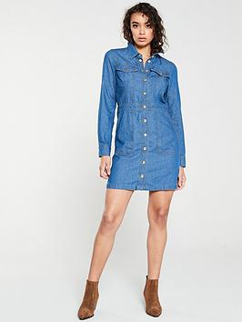 warehouse-snap-front-pocket-denim-dress-mid-wash