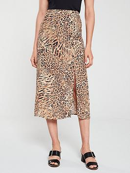 warehouse-mixed-animal-button-side-skirt-neutral