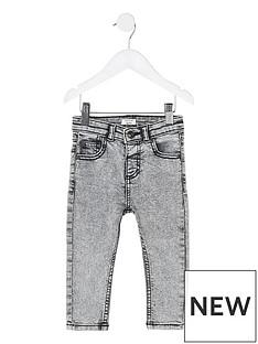 81dd6f11d River Island Mini Mini Boys Sid Skinny Acid Jeans - Grey