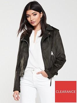 warehouse-suedette-biker-jacket-khaki