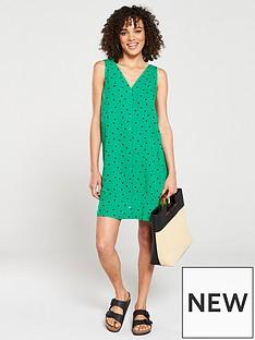 612a11dd7f28 Warehouse Green Spot Button Through Mini Dress - Green Print