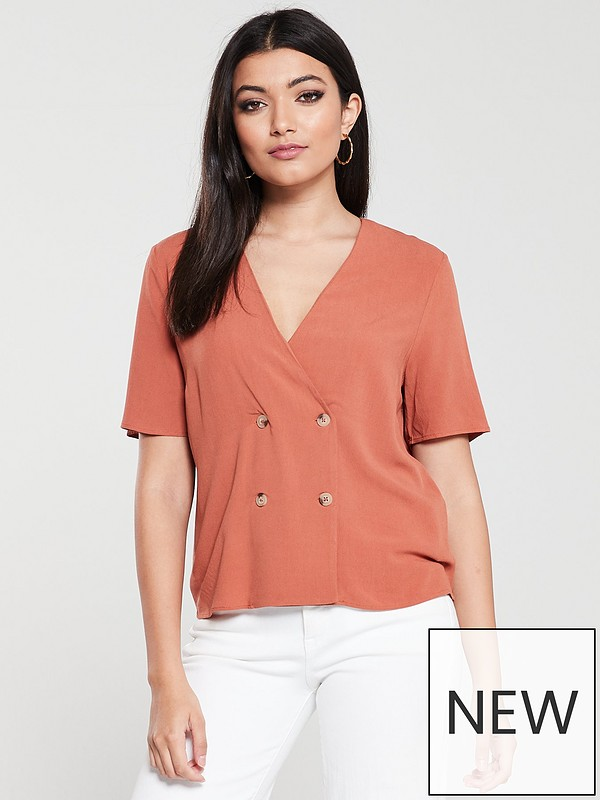 928bd9835 Warehouse Double Breasted Top - Rust | very.co.uk