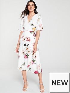 3cc62f86 Warehouse Flora Floral Wrap Midi Dress - Ivory Print