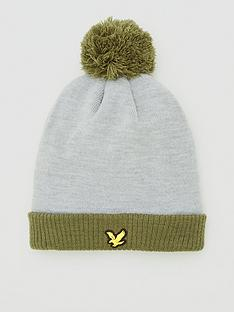 lyle-scott-golf-sports-bobble-beanie-grey-marl