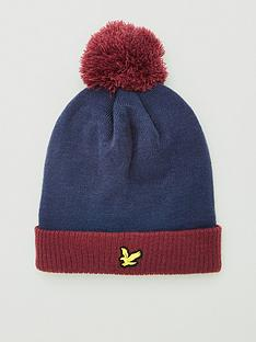 lyle-scott-golf-sports-bobble-beanie-navyburgundy