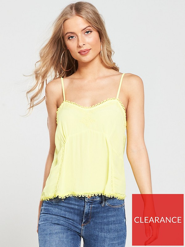 Lace Trim Cami Yellow