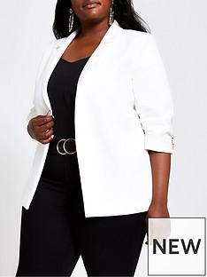 ri-plus-ruched-sleeve-blazer-white