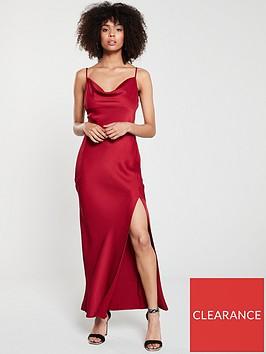 river-island-cowl-neck-slip-dress--red