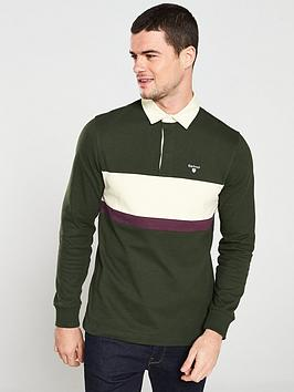 barbour-weston-panel-rugby-shirt-forest-green