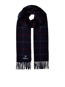 joules-tytherton-wool-checked-scarf-navy