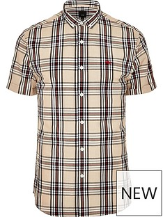 river-island-short-sleeve-big-tall-tan-check-shirt