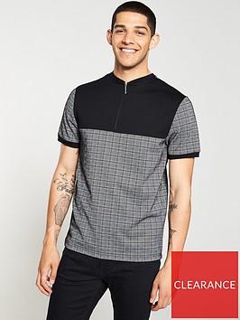river-island-grey-check-slim-fit-half-zip-polo-shirt