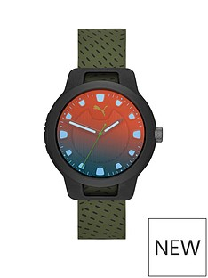 puma-reset-black-irridescent-dial-green-silicone-strap-mens-watch