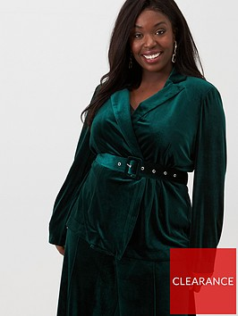 v-by-very-curve-velour-belted-blazer-forest-green