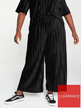 v-by-very-curve-plisse-velour-trouser-co-ord-black