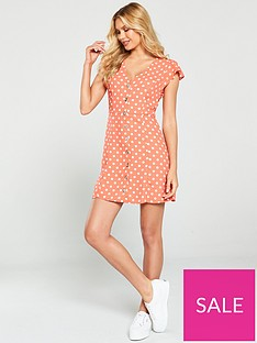 oasis-polka-dot-skater-dress-coral
