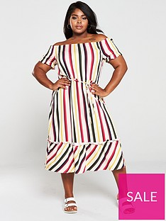 oasis-curve-bali-stripe-bardot-midi-dress-multi