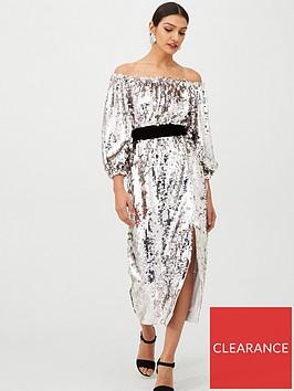 v-by-very-bardot-sequin-blouson-sleeve-velvet-tie-midi-dress-silver