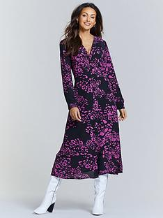 michelle-keegan-button-spilt-front-midi-dress-pink-leopard