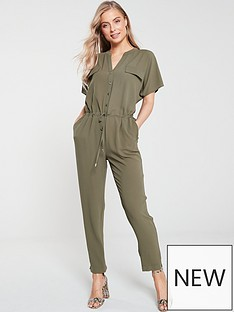 wallis-button-front-utility-jumpsuit-khaki