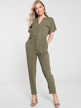 wallis-button-front-utility-jumpsuit-khaki
