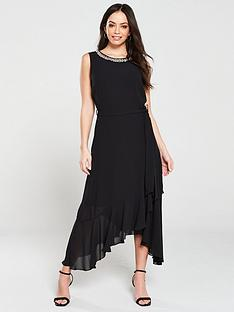wallis-embellished-neck-ruffle-midi-dress-blacknbsp