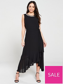 wallis-embellished-neck-ruffle-midi-dress-blacknbsp