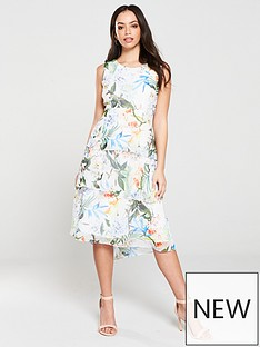 wallis-oriental-pop-tiered-midi-dress
