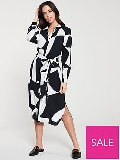 wallis-monochrome-print-shirt-dress-black