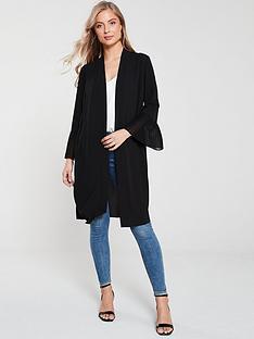 wallis-pleated-sleeve-duster-jacket-black