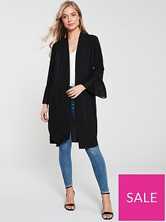 wallis-pleated-sleeve-duster-jacket-black