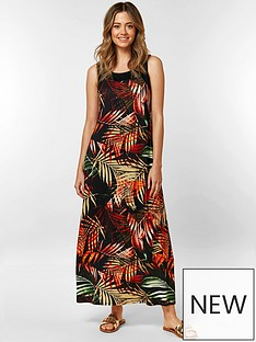 wallis-petite-sun-palm-blocked-maxi-dress-black