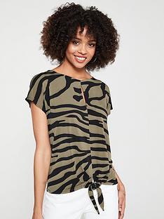 wallis-tie-hem-top--nbspkhaki-zebra
