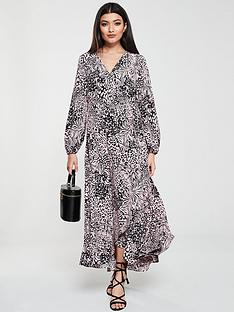 wallis-animal-print-waterfall-wrap-dress-pink