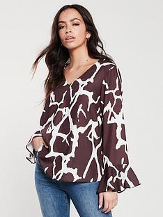 wallis-animal-print-flute-sleeve-blouse-rustbrown