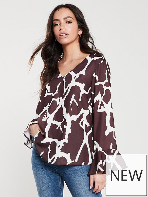 17e1f55615 Animal Print Flute Sleeve Blouse - Rust/Brown