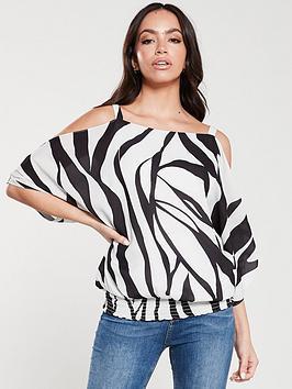 wallis-zebra-print-cold-shoulder-top-mono