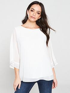 wallis-hotfixx-cuff-overlayer-blouse-whitenbsp