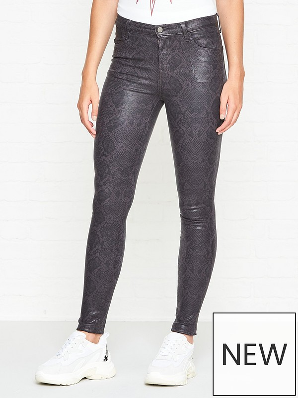 entire collection good texture most desirable fashion Maria High Rise Coated Snake Print Skinny Jeans - Boa