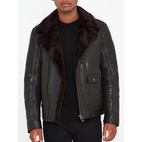 wholesale online buying cheap popular brand Danescroft Aviator Shearling Leather Jacket - Black