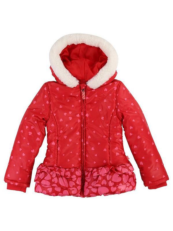 50% off sneakers for cheap buying new Billieblush Girls Ruffle Heart Print Coat