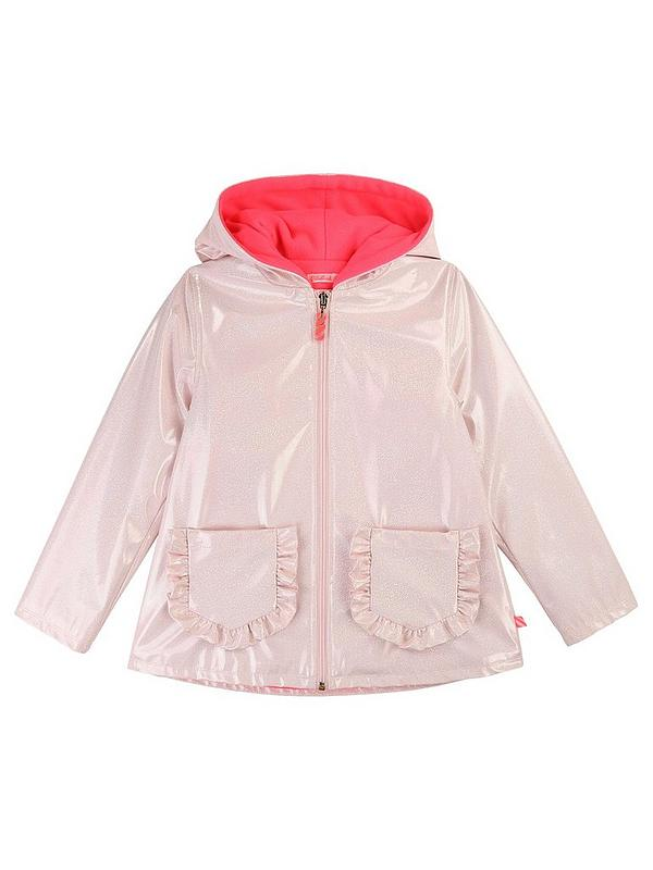 latest discount half price fast delivery Girls Ruffle Pocket Glitter Raincoat - Pink