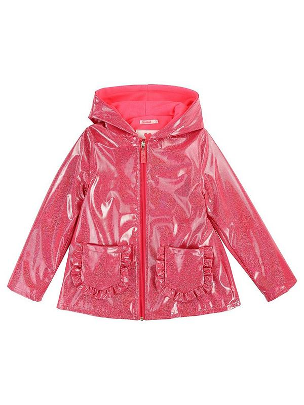 search for original cute most popular Girls Ruffle Pocket Glitter Raincoat - Bright Pink