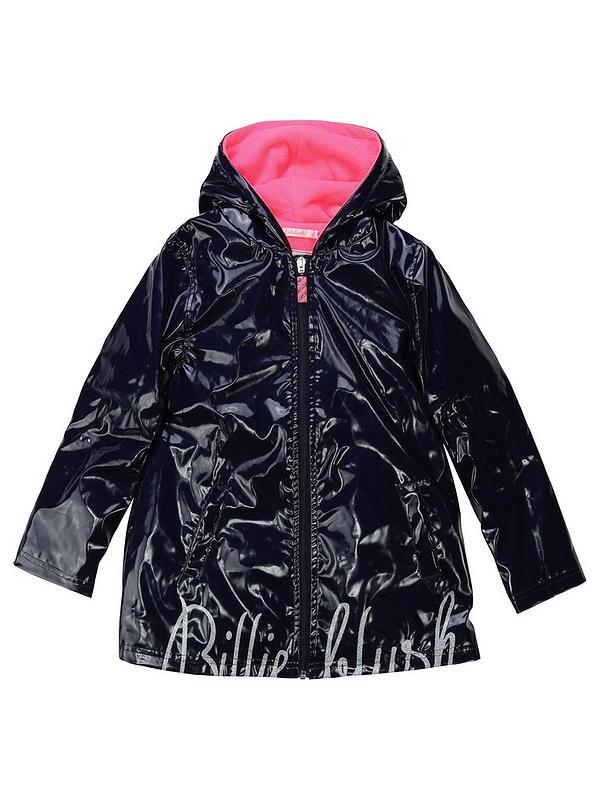 buy good top fashion beauty Girls Logo Hooded Raincoat - Navy