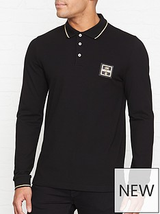 love-moschino-love-moschino-plaque-long-sleeve-polo-shirt-black