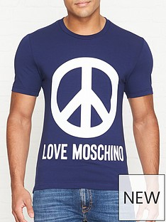 a299ad99 LOVE MOSCHINO Peace Logo Print Slim Fit T-shirt